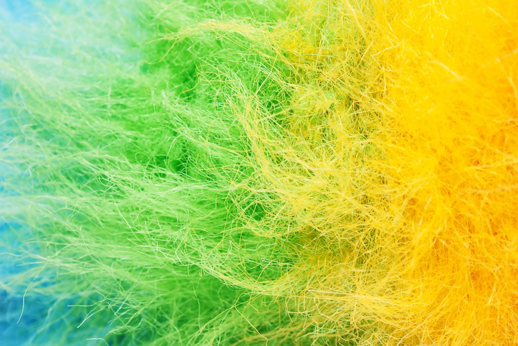 Blue, Green and Yellow polyester fibers